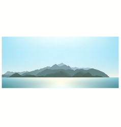 mountains far away view from the ocean vector image