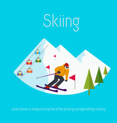Mountains ski resort trees skier flat design vector