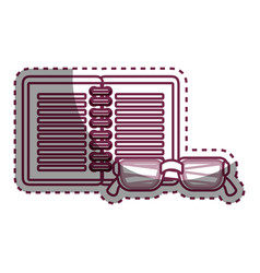 Notebook and glasses school supply icon vector