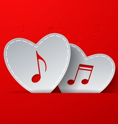 Notes Cut in White Paper Hearts on Red Background vector image