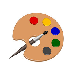 paint color palette and brush in vector image