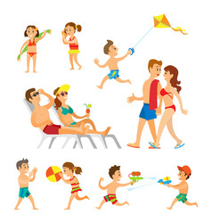 people on beach parents and children playing vector image