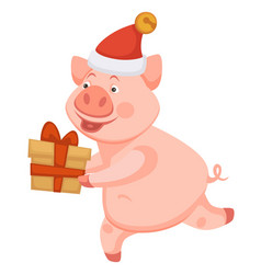pig symbolic animal of 2019 christmas time and vector image