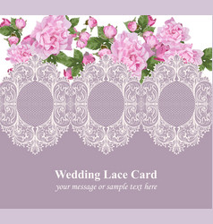 pink roses on vintage delicate lace card retro vector image