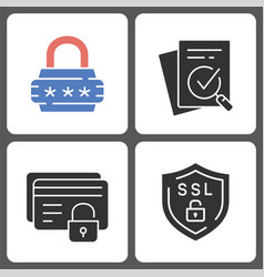 protection and security icons on white background vector image