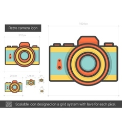 Retro camera line icon vector