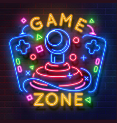 retro game neon sign video games night light vector image