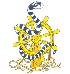 Sea snake on a helm vector