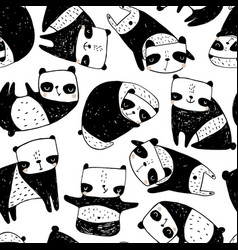seamless childish pattern with hand drawn pandas vector image