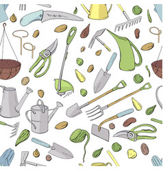 seamless pattern with different objects and tools vector image