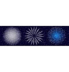 Set of fireworks on blue background vector