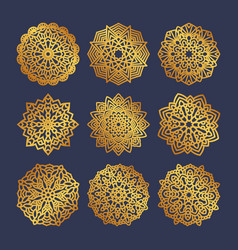 Set of gold mandalas indian wedding meditation vector