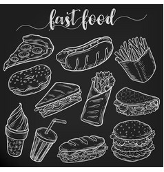 Set of isolated sketches of fast or junk food vector