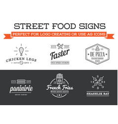 set of street food fastfood signs with icons can vector image