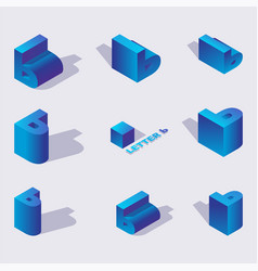 set with 3d isometric russian letters soft vector image