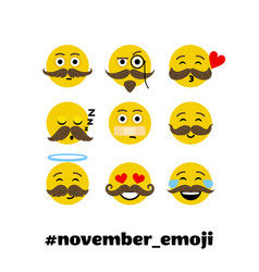 setof emoji with mustache and beard vector image