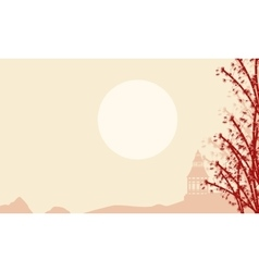 Silhouette of pabilion with fog landscape vector