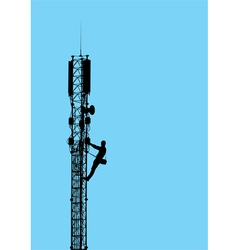 Silhouette of worker climbing on mobile tower vector