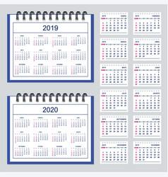 spanish business spiral desk calendar year 2019 vector image