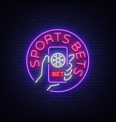 Sports betting is a neon sign design template vector