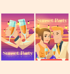 sunset party poster with happy couple on sea coast vector image