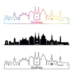 sydney v3 skyline linear style with rainbow vector image