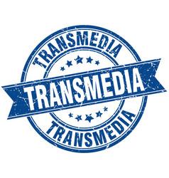 Transmedia round grunge ribbon stamp vector