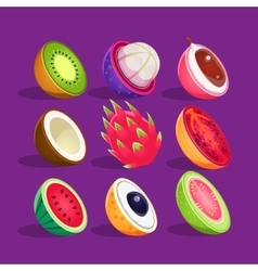 Tropical Fruits Sliced In Half Set Of Bright Icons vector
