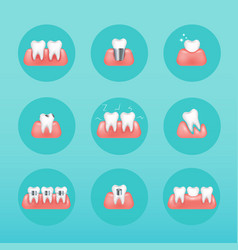 Types of dental clinic services stomatology and vector