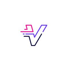 V letter dash lowercase tech digital fast quick vector