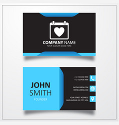 Valentine day calendar icon business card template vector