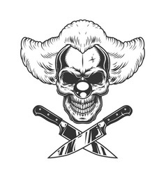 Vintage monochrome creepy clown skull vector