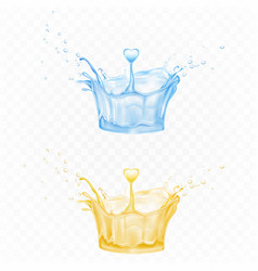 water splash set in blue and yellow colors for ad vector image