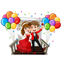 Wedding couple with colorful balloons vector