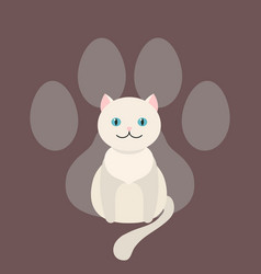 white cat sits dangling his tail cartoon pet vector image
