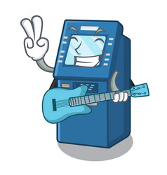 with guitar atm machine next to character table vector image