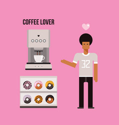 young african american man coffee machine and vector image