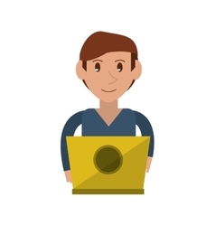 Young man working laptop design vector