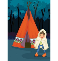 boy camping vector image vector image