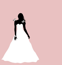 bride silhouette with butterflies greeting card vector image