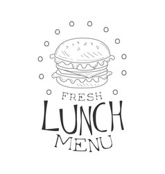 cafe lunch menu promo sign in sketch style with vector image vector image
