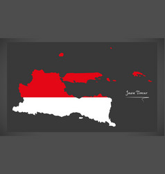jawa timur indonesia map with indonesian national vector image vector image