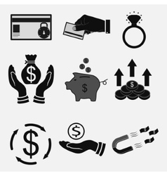 set icons money bank transfers cash vector image vector image