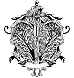 sword wings snake vector image vector image