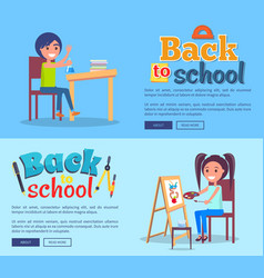 back to school poster set with girl and boy vector image vector image