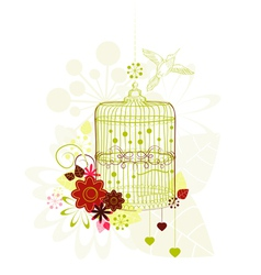 Background with green cage vector image
