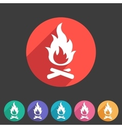 Fire icon flat web sign symbol logo label vector image