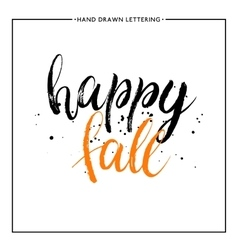 Happy fall text with black splashes vector image