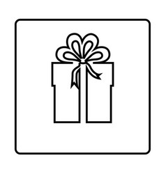 Monochrome contour square frame with gift box vector