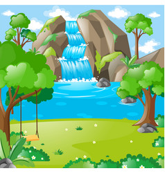 Scene with waterfall in the woods vector